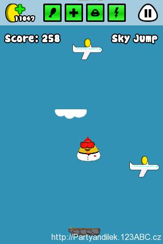 Hra Sky Jump, jedna z nejoblíbenějších Pou miniher