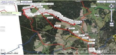 Mapa pochodu v Ašském výběžku na nejzápadnější bod České republiky.